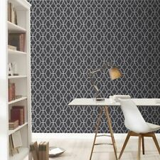 BLACK / SILVER CASABLANCA TRELLIS FRETWORK WALLPAPER - RASCH 309348