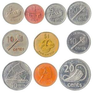 10 DIFFERENT COINS FROM FIJI. 1 CENT - 1 DOLLAR. OCEANIA MONEY: 1969-NOW