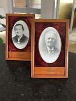 Vintage Photo Frames Pair 2 1950s  French  Embossed Rectangular Wood Wooden Old