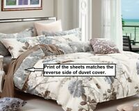 daisy 4pc 100% cotton sheet set: 1 fitted sheet, 1 flat sheet & 2 pillowcases