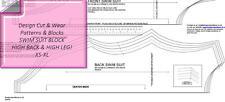 SWIM SUIT HIGH BACK & HIGH LEG- PATTERN BLOCK- STRETCH  - SIZES XS TO XL SLOPER-
