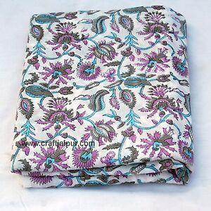 10 Yards Indian Cotton Hand Block Printed Natural Floral Sanganeri Print Fabric