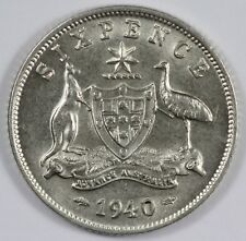 Australia 1940 Sixpence, about Uncirculated