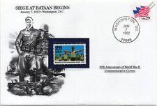 WWII 1942 Battle/Siege of Bataan (Philippines) Begins Stamp Cover (Danbury Mint)