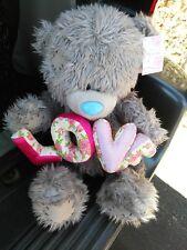 "Me to You LOVE Grey Bear Soft Plush 16"""