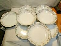 "8 vintage Monarch #6504 Fine China Floral Pattern Japan Made 7.5"" Soup Bowls"