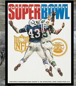 NFL Super Bowl III New York Jets Baltimore Colts Program REPRINT 8 X 10 Photo
