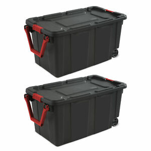 Plastic Storage Container Bin Tote Box Wheeled 40 Gal 2 Pack Organizer With Lid