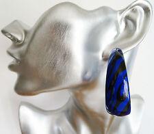 Fab Zebra Print Hoop Dangle Drop Earrings in BLUE and Black 5 cms