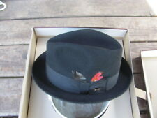 VINTAGE-CHAMP BRAND-KASMIR FINISH FEDORA STYLE HAT-EXCELLENT-BLACK-SIZE 7