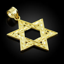 Fine 14k Yellow Gold Hebrew Faith Gift Charm Israel Jewish Star of David Pendant