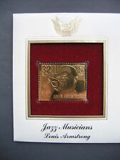 1995 Jazz Musicians Louis Armstrong 22kt Gold GOLDEN Cover replica FDC STAMP
