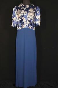 RARE VINTAGE LONG 1940'S FANCY LONG BLUE RAYON AND SATIN EVENING GOWN SIZE 10+