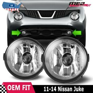 For Nissan Juke 11-14 Factory Bumper Replacement Fit Fog Lights DOT Clear Lens