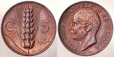 5 CENTESIMI 1934 R REGNO D'ITALIA VITTORIO EMANUELE III Fdc #1522A