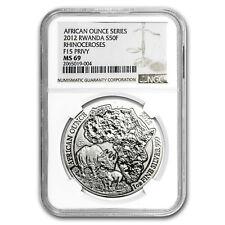 2012 Rwanda 1 oz Silver African Rhino MS-69 NGC (F15 Privy)