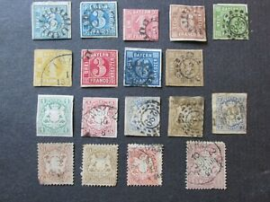 Collection of Old Bavaria Stamps High Values used