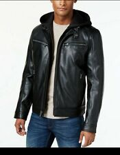MICHAEL Kors Men's Faux-Leather Hooded Bomber Jacket -LARGE