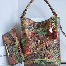 Brahmin Amelia Bucket Bag in Ammolite Melbourne Croc Embossed Leather