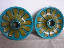 Vintage 1960's Early Fitz & Floyd Pair Candle Holders Turquoise & Green