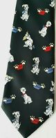 Picasso Mens Black Neck Tie Spotted Dalmatian Dog Novelty Graphic Print Handmade