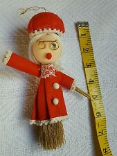 60's? Vintage HAND CRAFTED Mrs. Santa Claus Christmas Broom Wall Tree Hanging