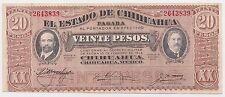 Mexico 20 Pesos Jan 1915 VF P-S537c El Estado de Chihuahua No seal or control