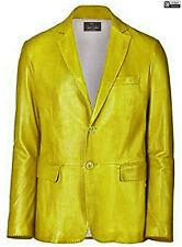 Mens Yellow Stylish Classic Blazer Coat Premium Quality Genuine Cowhide Leather