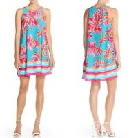 Lilly Pulitzer Wright Print Crêpe de Chine Trapeze Dress Floral Swing Size Large