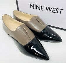 Nine West Treasure Pointy Toe Flats Patent Leather Taupe Black Size 5.5