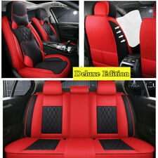 5-Seats Luxury Leather Interior Accessories Car Front+Rear Seat Cover Pillow Set