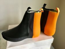 Puma By Philip Starck Unisex Leather Tain Boots In Black And Orange