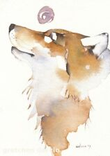 GREETING CARD spiritual art watercolor spirit totem animal wolf 'PURPLE MOON'