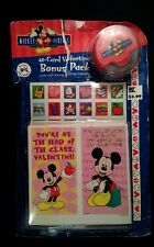 40 Mickey Valentine Day Cards Seals Rolling Stamper Ink May Be Dry Box damage