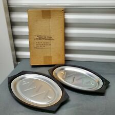 Nordic Ware Sizzler Steak Fajita Serving Platters with Holders Set of 2 10B510
