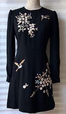 Ted Baker 'Lillien' Graceful Floral Embroidered Dress Black Size 1 UK 8 New