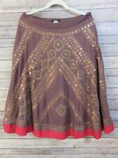Bizz Womens A-line Skirt Large Boho Embellished Maroon Red Cotton Gypsy Festival
