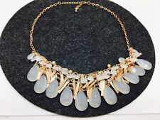 """NEW Opaque White Tassel Fringe Bib Collar Statement Necklace Women's Dress 20"""""""