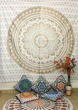 Indian Gold Cotton Wall Hanging Golden Mandala Bedding Tapestry Elite Look Decor