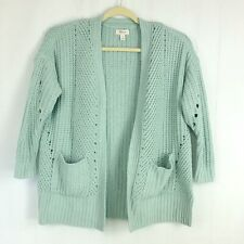 Style & Co Womens sz Petite S Teal Chenille Open Front Cardigan Sweater Pockets