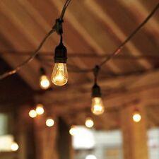 50 ft 25 Sockets Black Outdoor 14 Gauge Edison Metro String Lights + 28 Bulbs
