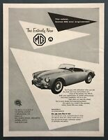 "1956 MG MGA Convertible photo ""Fastest MG Engineered"" vintage print ad"