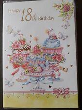 FEMALE HAPPY 18TH BIRTHDAY CARD WITH PINK + WHITE  ENVELOPE - U.K SELLER