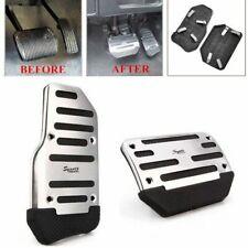 Car Pedal Brake Foot Cover Treadle Belt Silver Non-Slip universal aluminum 2Pcs