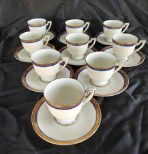 Servizio antico 9 tazzine da caffè tettau (Bavaria) decori cornice oro e blu