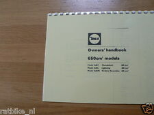 B0137 BSA---OWNERS HANDBOOK 650cc MODELS---A65T THUNDERBOLT+LIGHTING+FIREBIRD SC