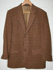 Vintage Benetton Tweed Jacket Sport Coat Plaid 2 Button Euro 50 Brown Camel