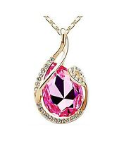 Superbe collier pendentif plaqué or cristal strass, goutte rose joaillerie neuf