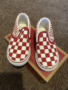 Vans Toddler Classic Slip On Checkerboard White/Red Size T 7.5