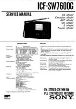 SONY ICF-SW7600G SERVICE MANUAL ON A CD